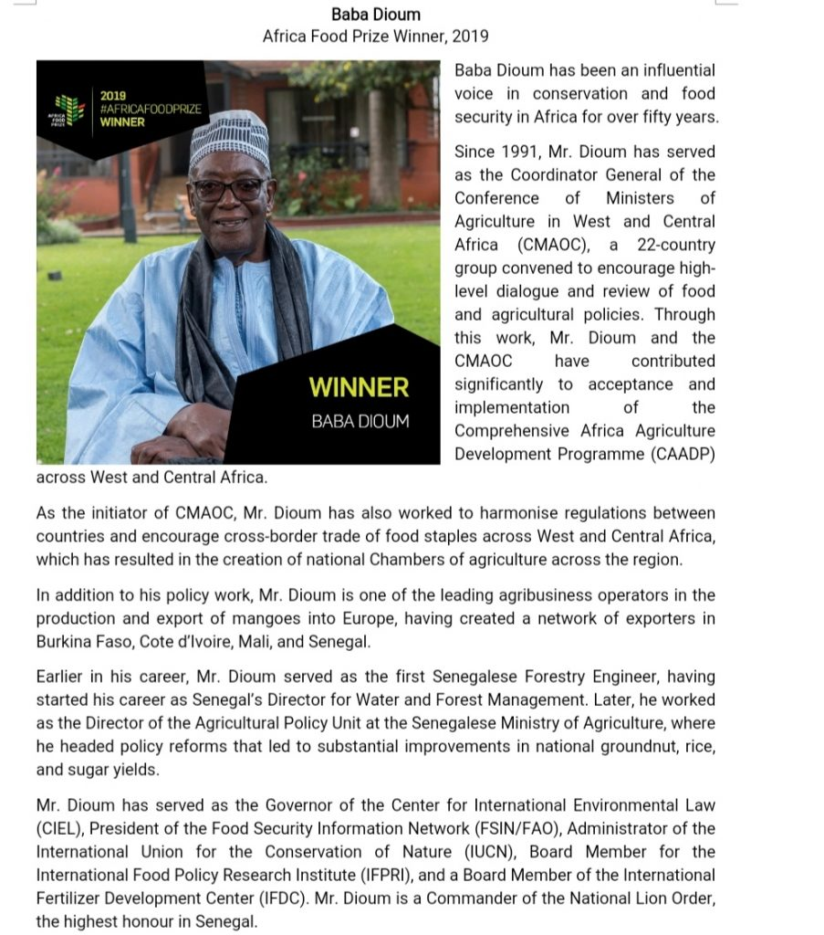 Baba Dioum- Africa Food Prize Winner, 2019 1