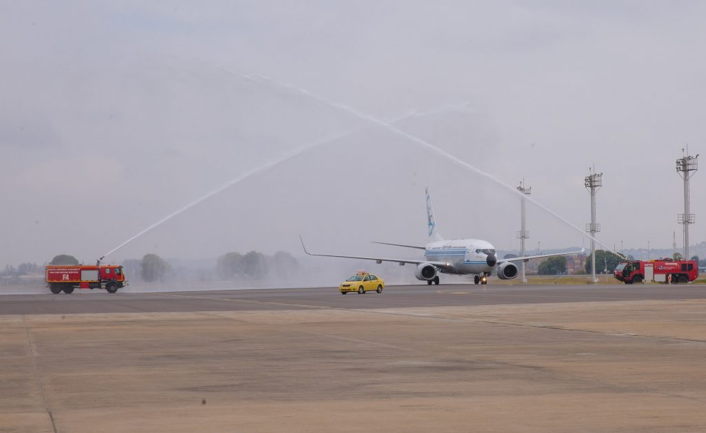 Water Salute as the flight lands at the Moi International Airport Mombasa